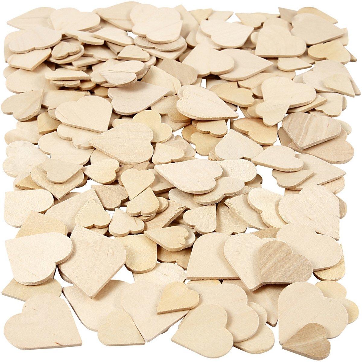 Mozaiek, harten, afm 18-30 mm, dikte 2 mm, berkehout, 60stuks [HOB-565791] kopen
