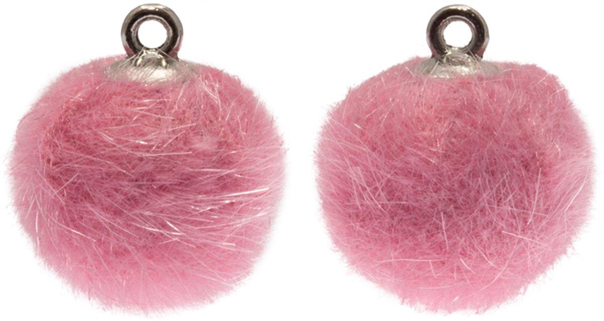 Pompom Bedels (12 mm) Antiek Zilver / Party Pink (10 Stuks) kopen