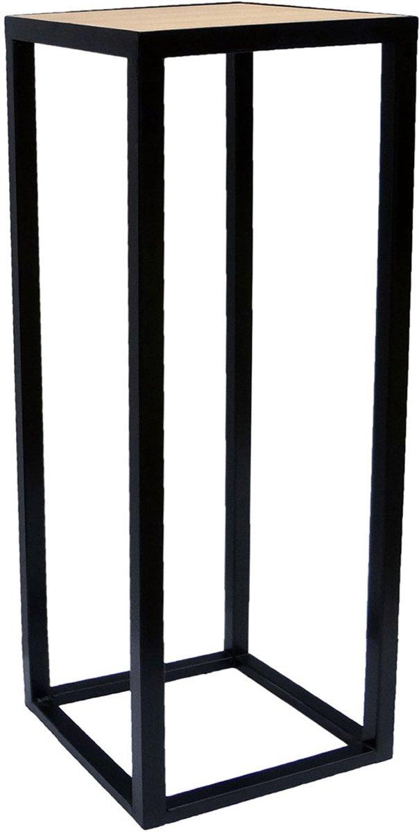 Stalen frame zuil mat zwart 30 x 30 x 80 cm met eiken plank kopen