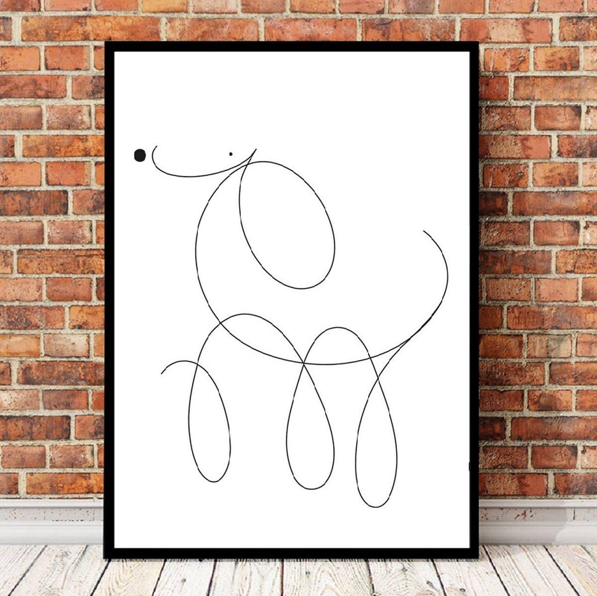 Postercity - Design Canvas Poster Lijnen Hondje Poedel / Kinderkamer / Muurdecoratie / 40 x 30cm / A3 kopen