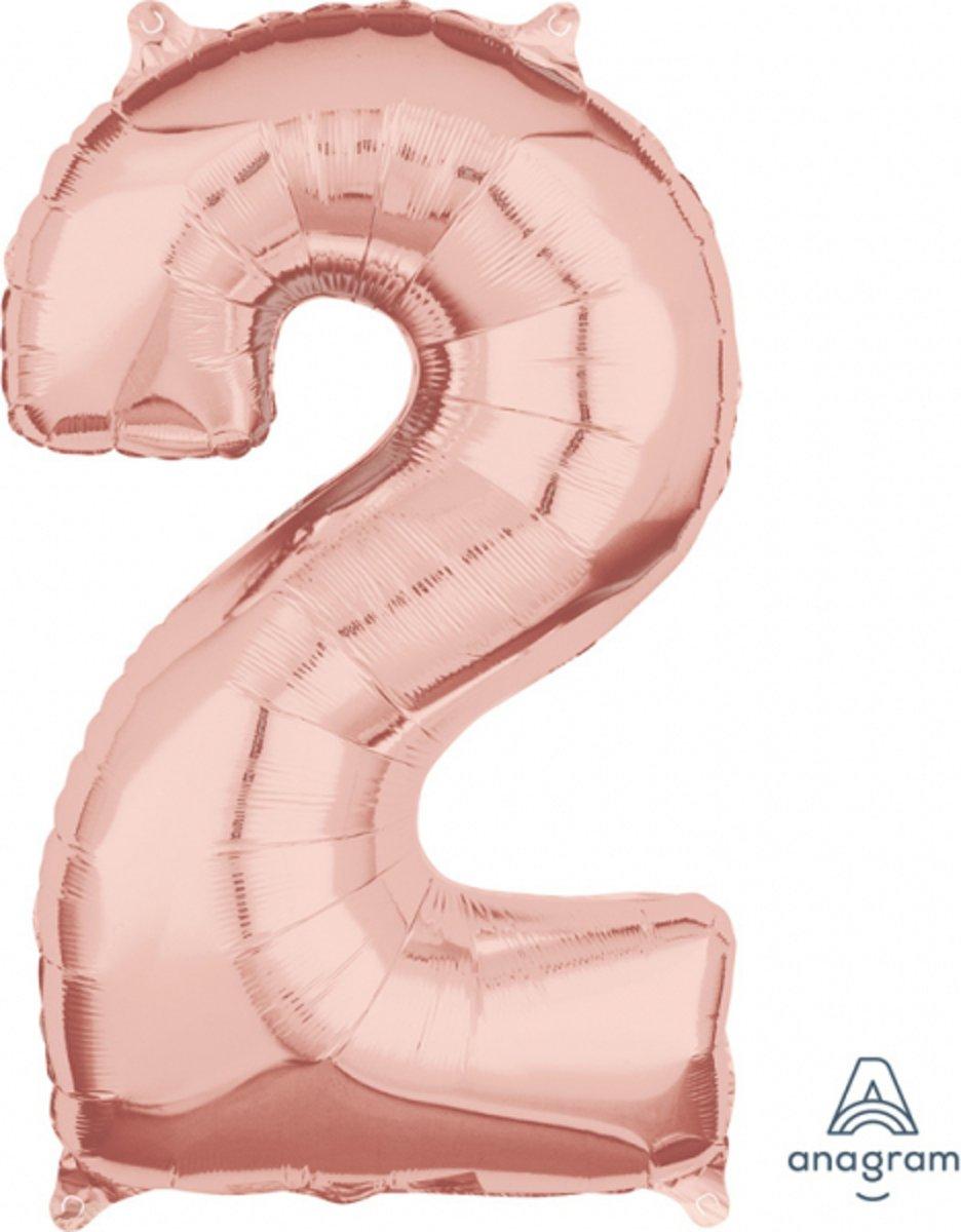 Ballon Foil Goud Roze Cijfer 2 - 66cm kopen
