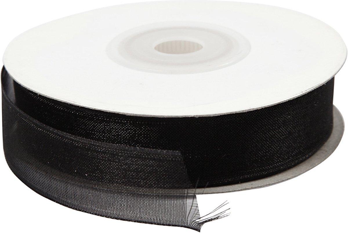 Organza lint, b: 15 mm, zwart, 20m [HOB-52124] kopen