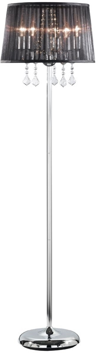 TRIO, Vloerlamp, Leyla 5xE14, max.40,0 W Glas, Transparant helder, Armatuur: Metaal, Chroom Ø:42,0cm, H:150,0cm Voetschakelaar kopen