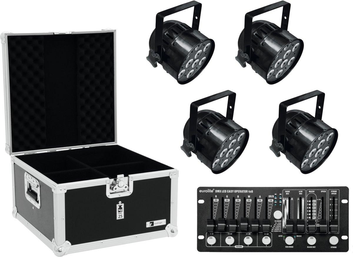 EUROLITE Set 4x LED PAR-56 HCL zwart + koffer + controller - LED Par Set kopen