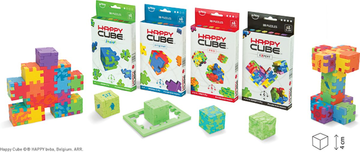Happy Cube Family 24-pack puzzels = 6 Junior + 6 Original + 6 Pro + 6 Expert kopen