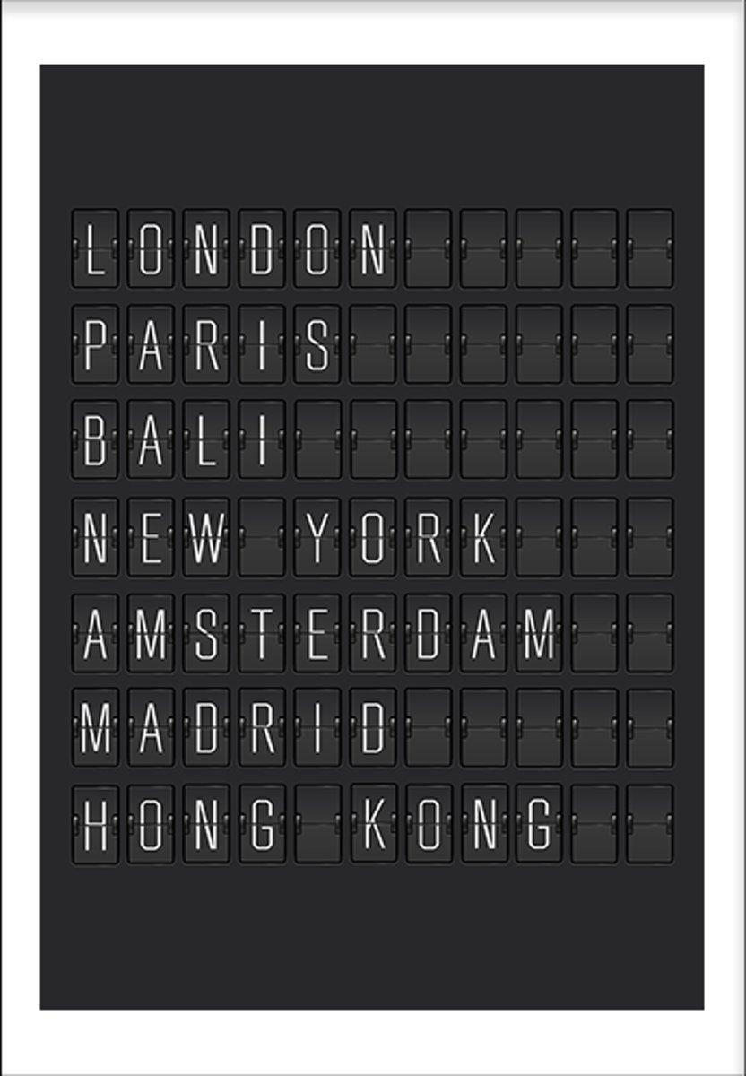 Departures (50x70cm) - Tekst - Poster - Print - Wallified kopen