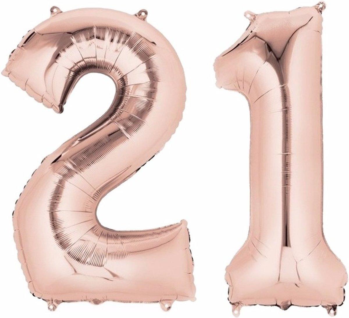 Folie ballon cijfer 21 rose goud kopen