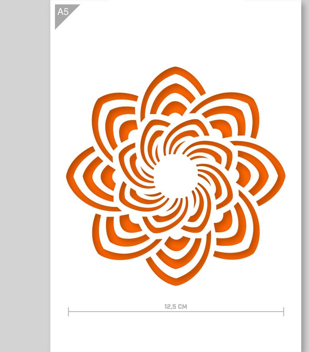 Mandala sjabloon - Kartonnen A5 stencil - Kindvriendelijk sjabloon geschikt voor graffiti, airbrush, schilderen, muren, meubilair, taarten en andere doeleinden kopen