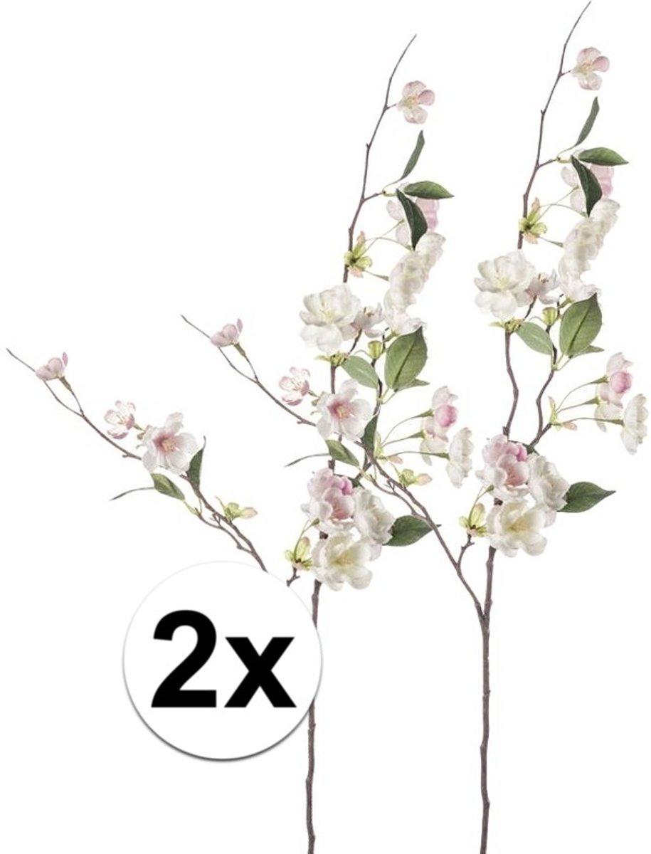 2x Roze perzikbloesem tak 80 cm - Kunstbloemen kopen