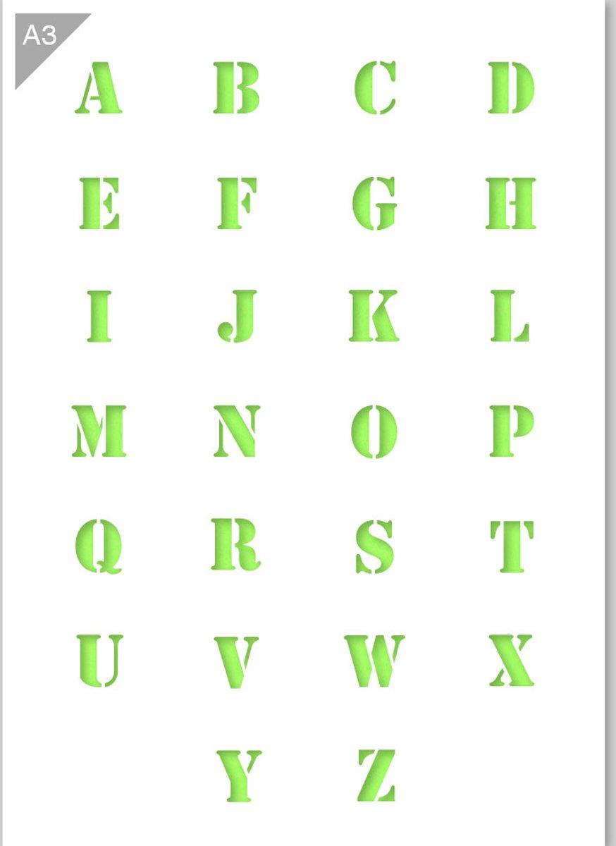 Lettersjabloon - Alfabet hoofdletter stencil font - Kunststof A3 stencil - Kindvriendelijk sjabloon geschikt voor graffiti, airbrush, schilderen, muren, meubilair, taarten en andere doeleinden kopen
