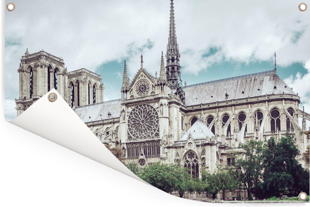 Uitzicht op de kathedraal Notre-Dame in Parijs Tuinposter 180x120 cm Buitencanvas / Schilderijen voor buiten (tuin decoratie) XXL / Groot formaat! kopen