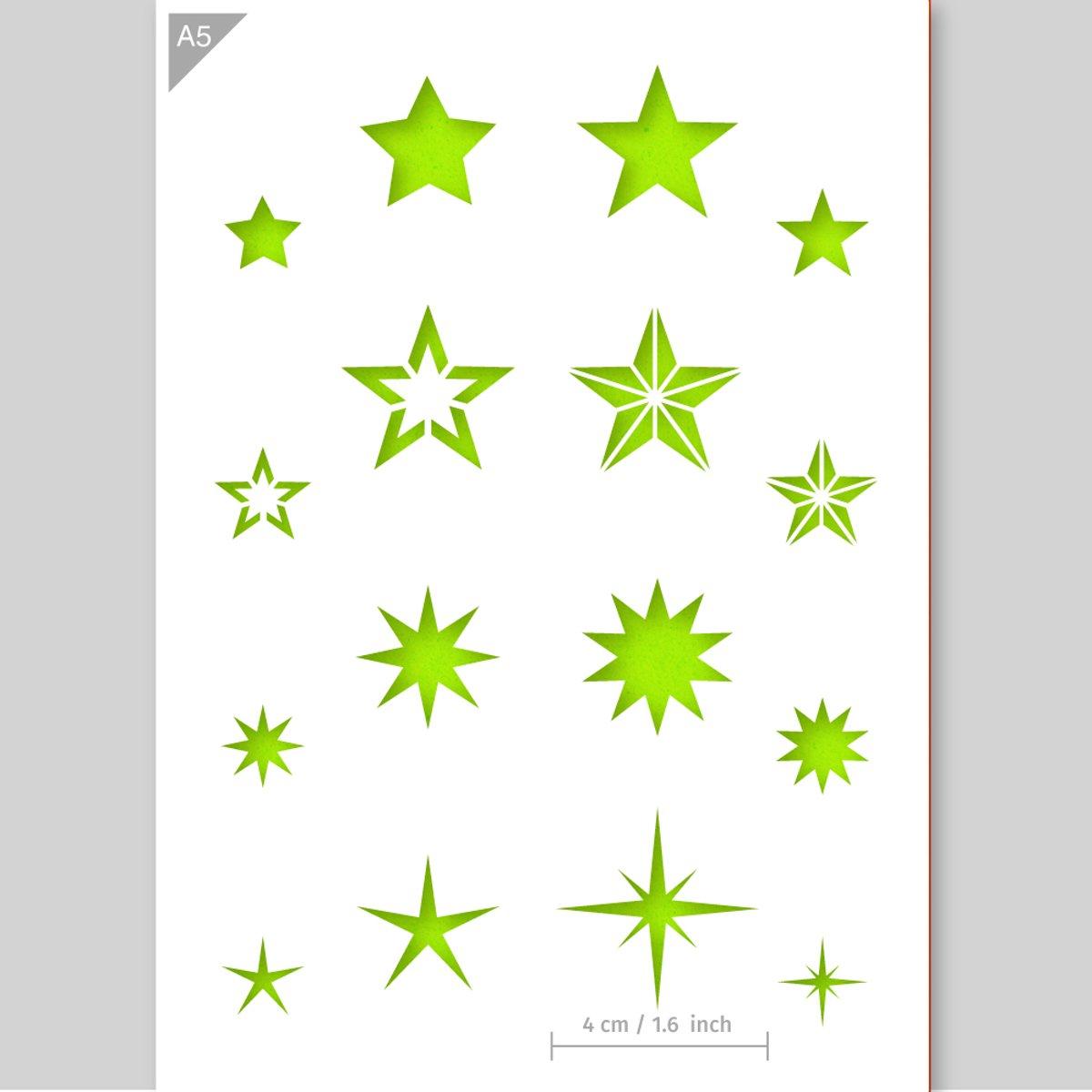 Sterren sjabloon - Kartonnen A5 stencil - Kindvriendelijk sjabloon geschikt voor graffiti, airbrush, schilderen, muren, meubilair, taarten en andere doeleinden kopen