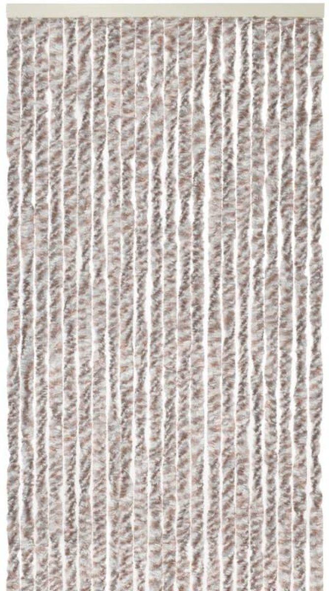 Kattenstaart - Vliegengordijn - Horgordijn - 90cm x 220 cm - Wit/Grijs/Bruin kopen