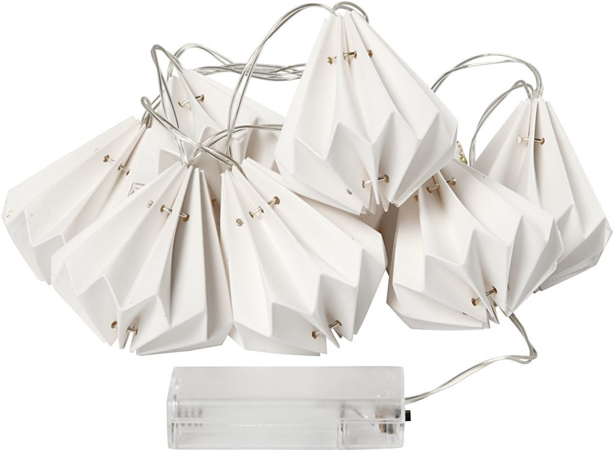 LED lichtslinger met lampenkapjes, druppel, l: 100 cm, d: 65 mm, wit, 1stuk, h: 80 mm [HOB-52358] kopen