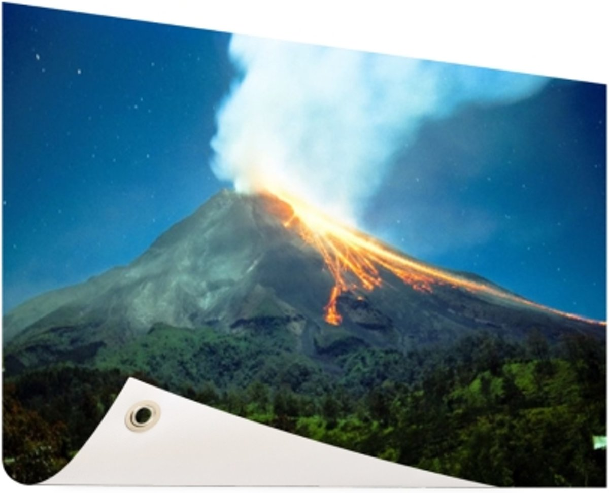 Mount Merapi Tuinposter 200x100 cm - Foto op Tuinposter (tuin decoratie) kopen