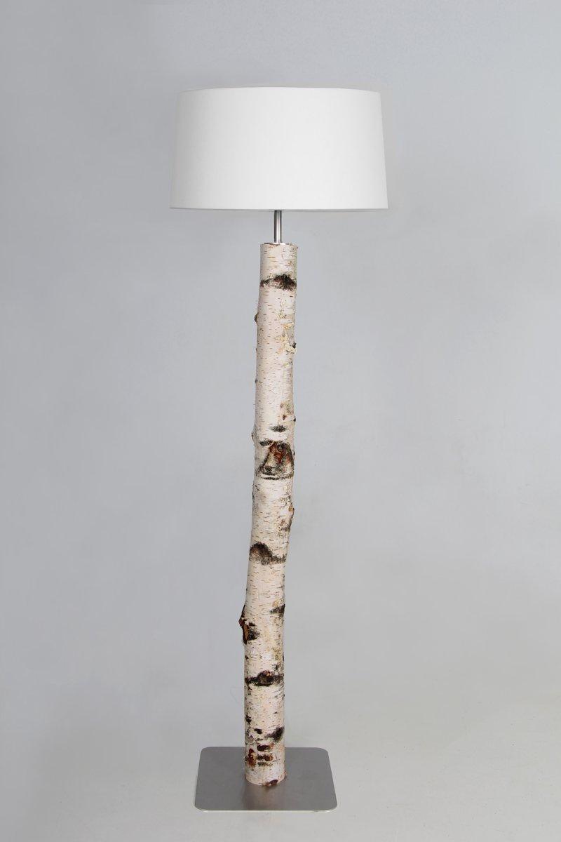 Staande lamp berken stam 120 cm met witte kap kopen