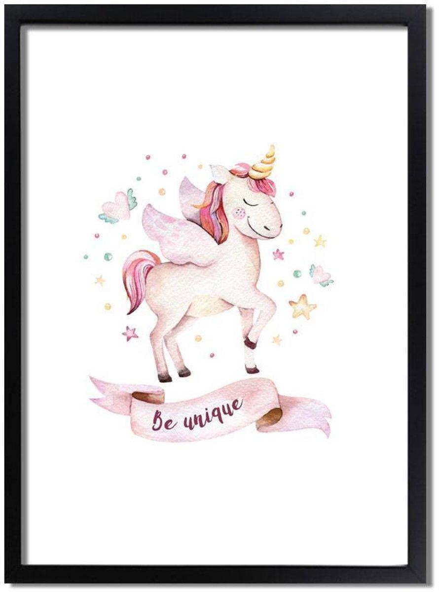 Kinderkamer poster Unicorn / Eenhoorn poster DesignClaud - Roze - A2 + Fotolijst zwart kopen