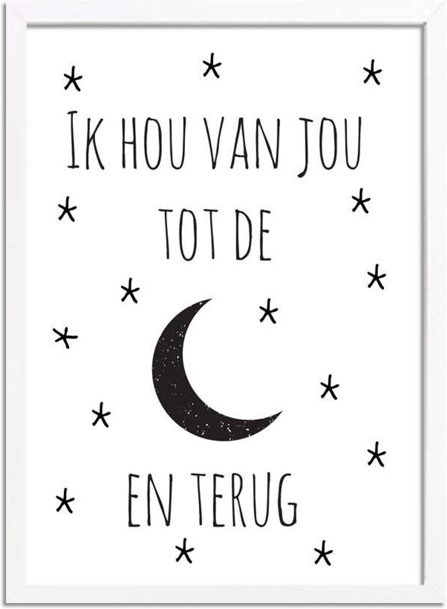 Kinderkamer poster Ik hou van jou tot de maan DesignClaud -  Zwart wit - A4 + Fotolijst wit kopen