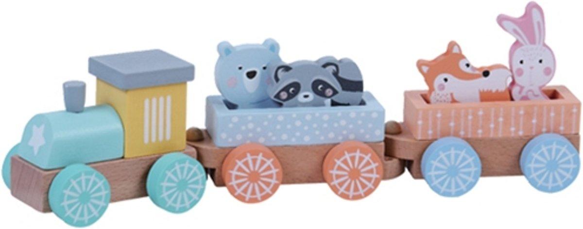 Houten trein met wagons met dieren pastel kleuren