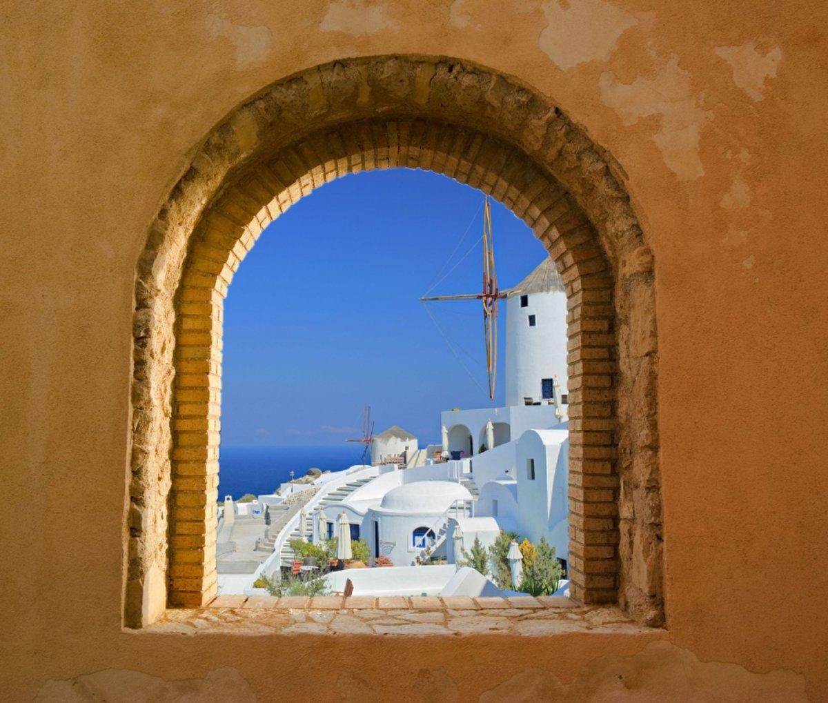 Tuinposter - Toscaans raam doorkijk 15 kopen