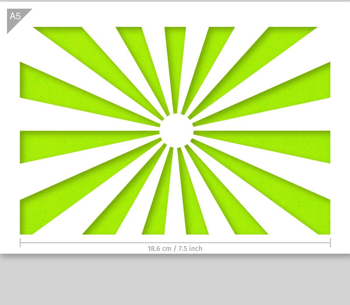 Zonneschijn sjabloon - Kunststof A5 stencil - Kindvriendelijk sjabloon geschikt voor graffiti, airbrush, schilderen, muren, meubilair, taarten en andere doeleinden kopen