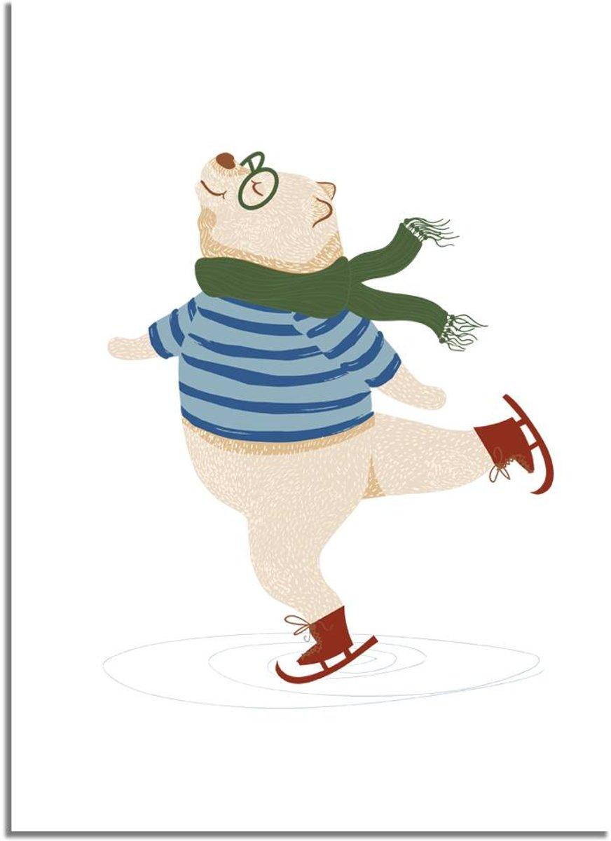 Kinderkamer poster beer op schaatsen DesignClaud - groen rood blauw- A4 + Fotolijst wit kopen