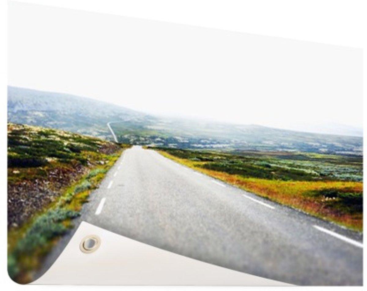 Uitzicht op een landweg Tuinposter 120x80 cm - Foto op Tuinposter (tuin decoratie) kopen