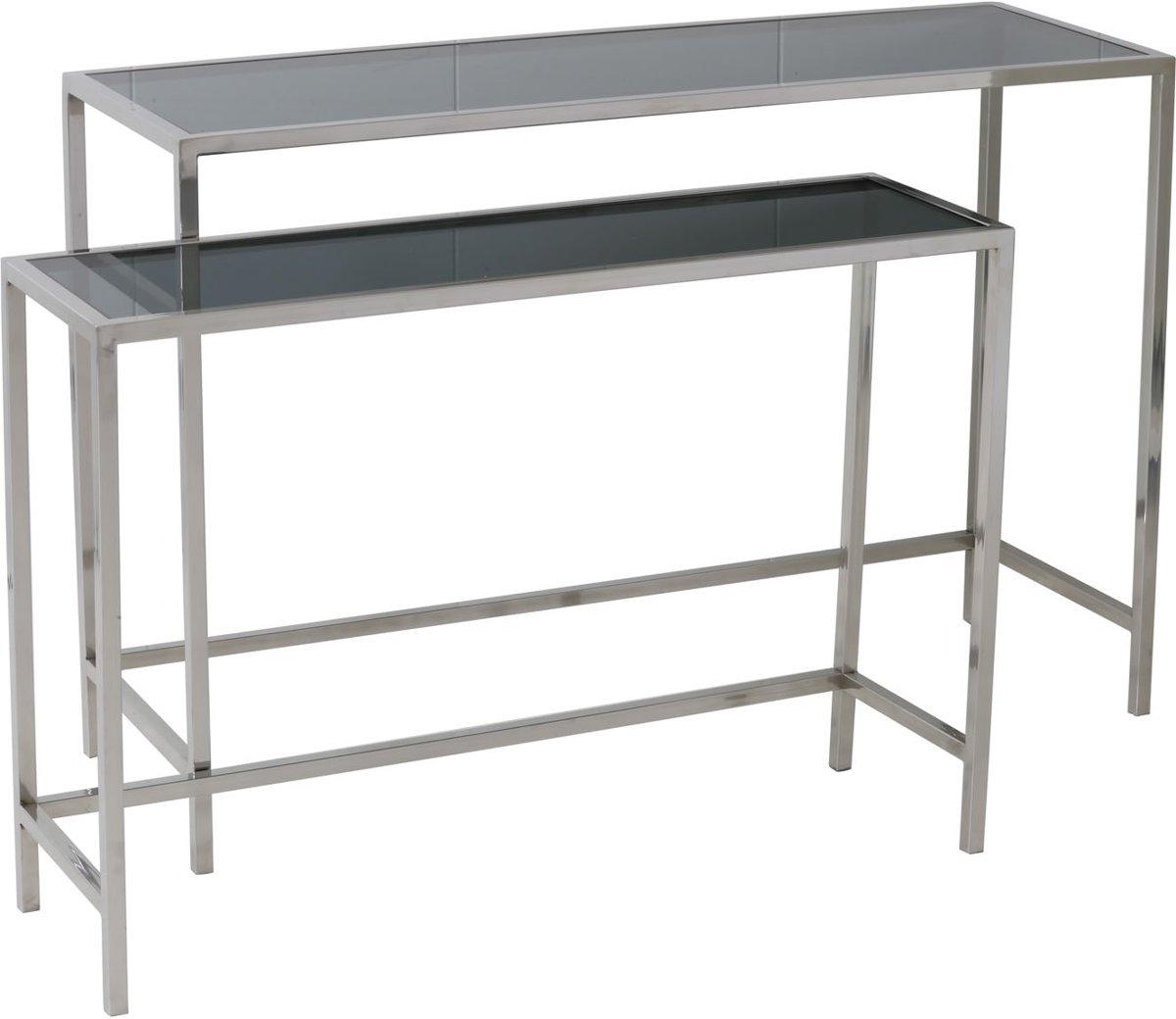 Sidetable Met Glazen Blad.Light Living Fox Side Table Set Van 2 Nikkel Glas Zwart