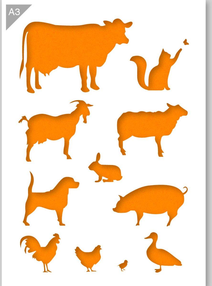 Boerderij dieren sjabloon - Kunststof A3 stencil - Koe, varken, geit, schaap, hond, kat, konijn, eend sjabloon - Kindvriendelijk sjabloon geschikt voor graffiti, airbrush, schilderen, muren, meubilair, taarten en andere doeleinden kopen