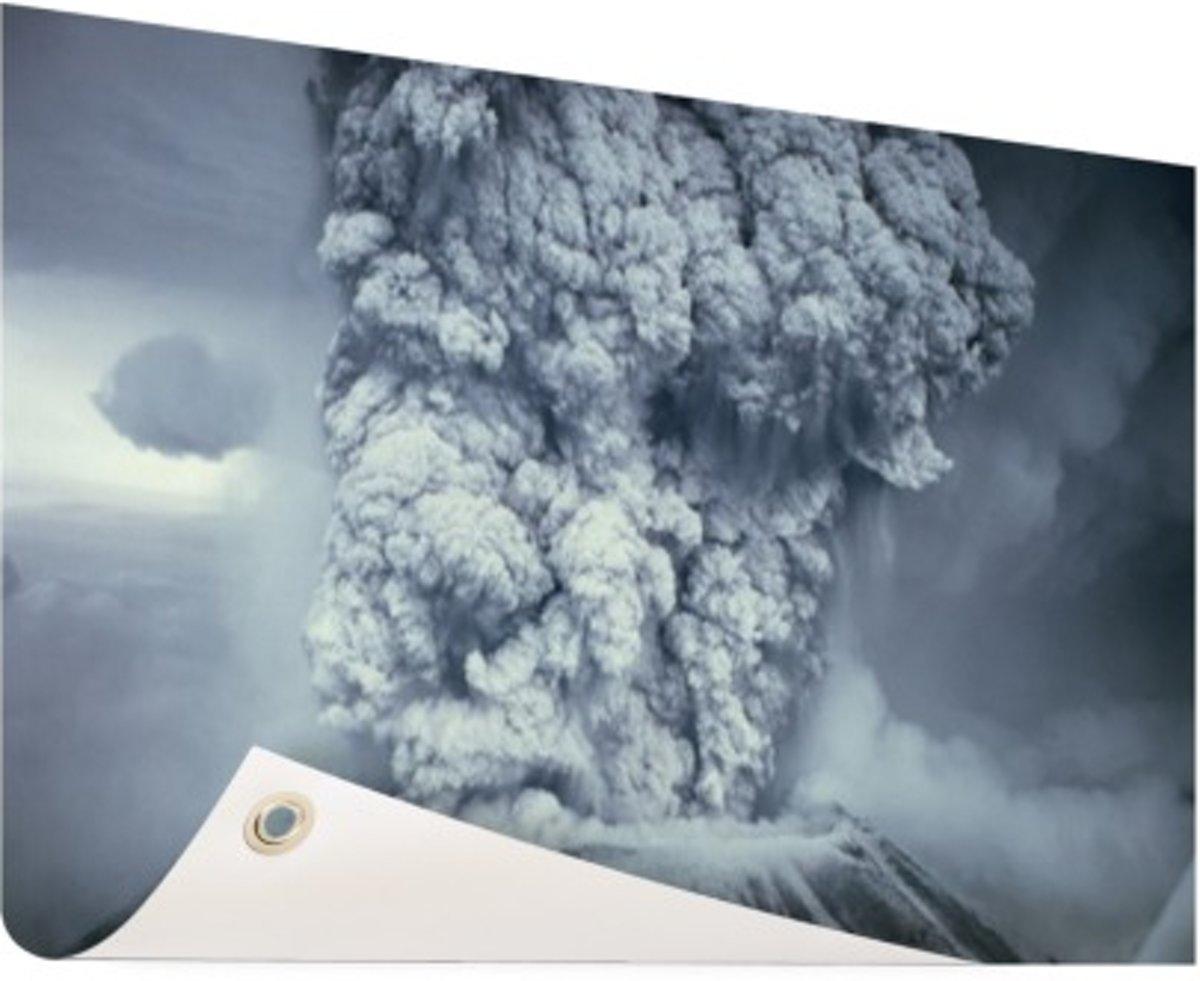 Uitbarsting vulkaan zwart wit Tuinposter 60x40 cm - Foto op Tuinposter (tuin decoratie) kopen