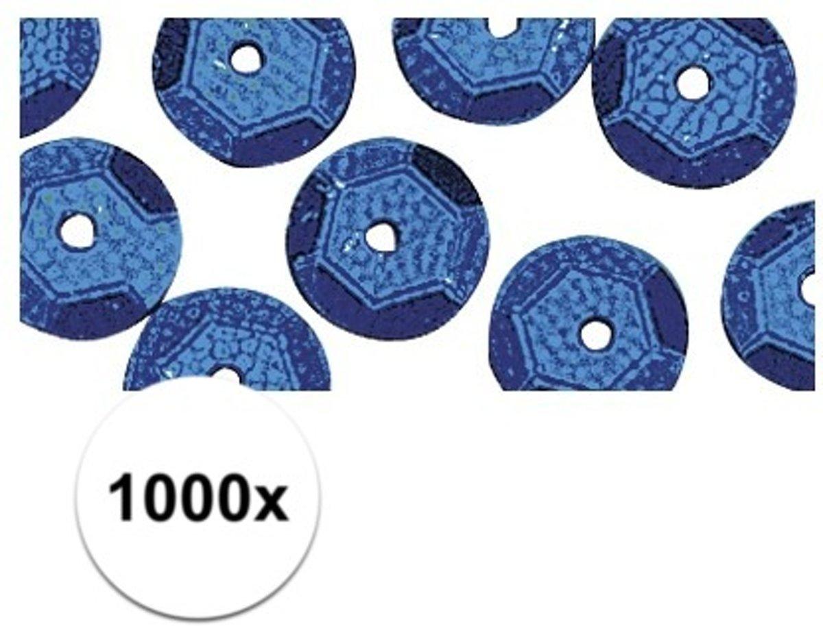 1000x Pailletten blauw  6 mm kopen