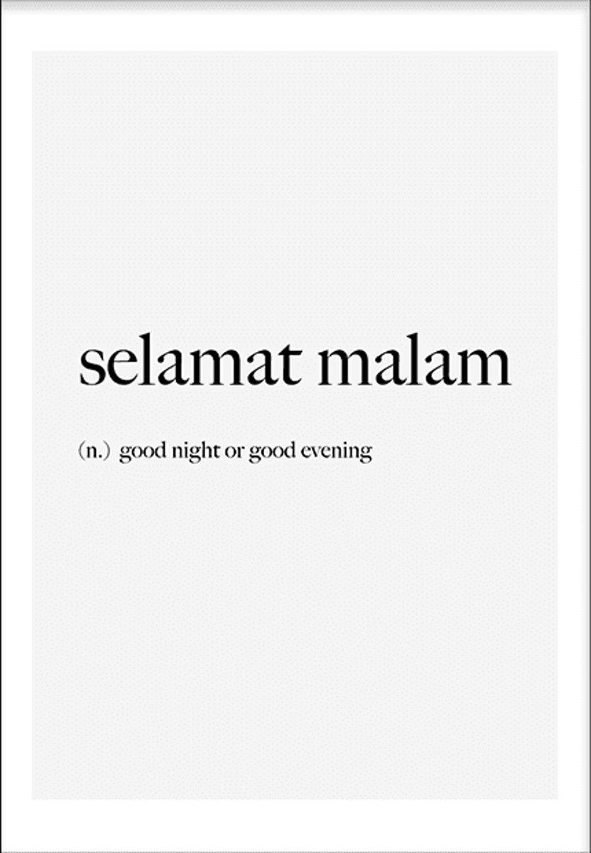 Selamat malam (21x29,7cm) - Tekst - Poster - Print - Wallified kopen