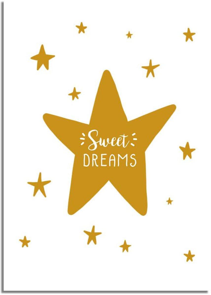 Kinderkamer poster Sweet Dreams DesignClaud - Mosterd geel - A2 poster kopen