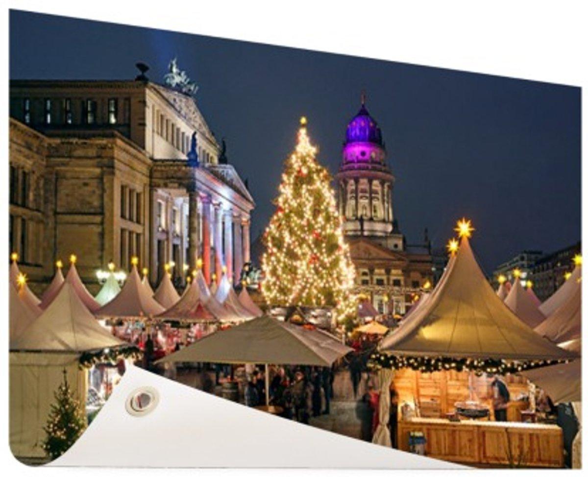Typisch Berlijnse kerstmarkt Tuinposter 120x80 cm - Foto op Tuinposter (tuin decoratie) kopen