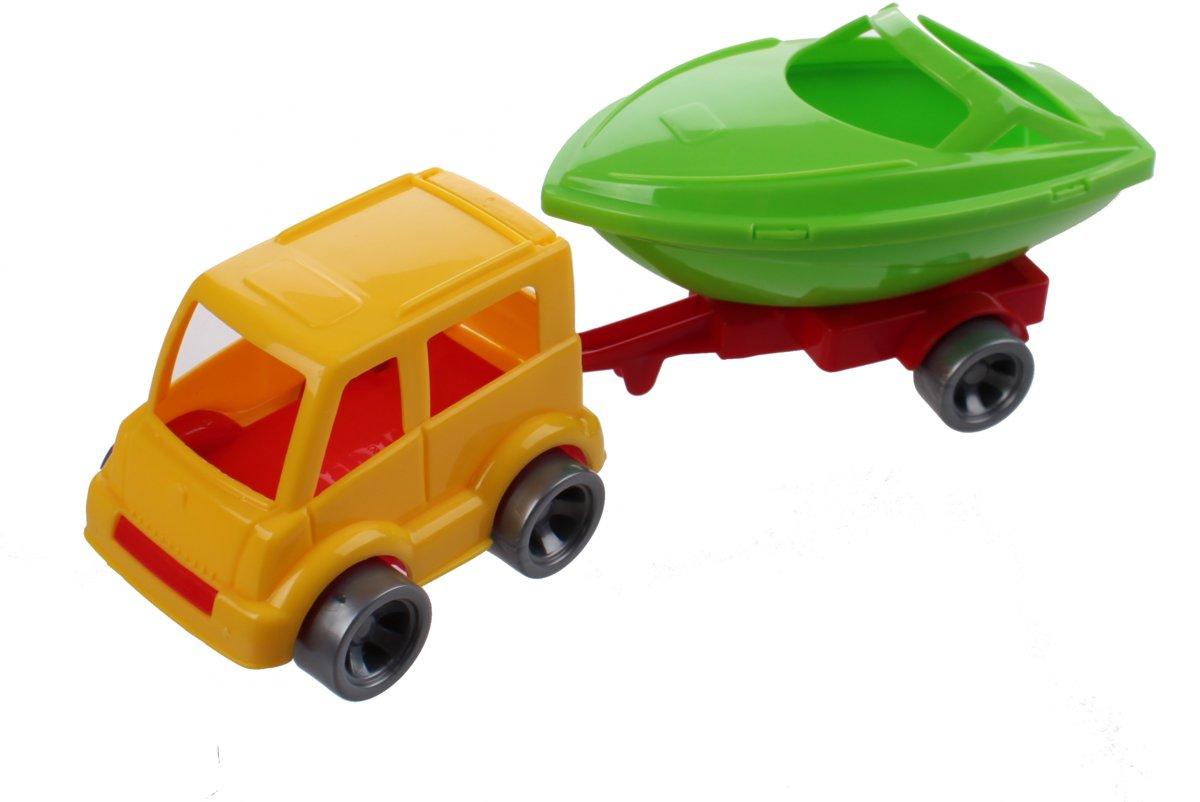 Wader Kids Cars Aanhanger Met Boot Geel/groen kopen