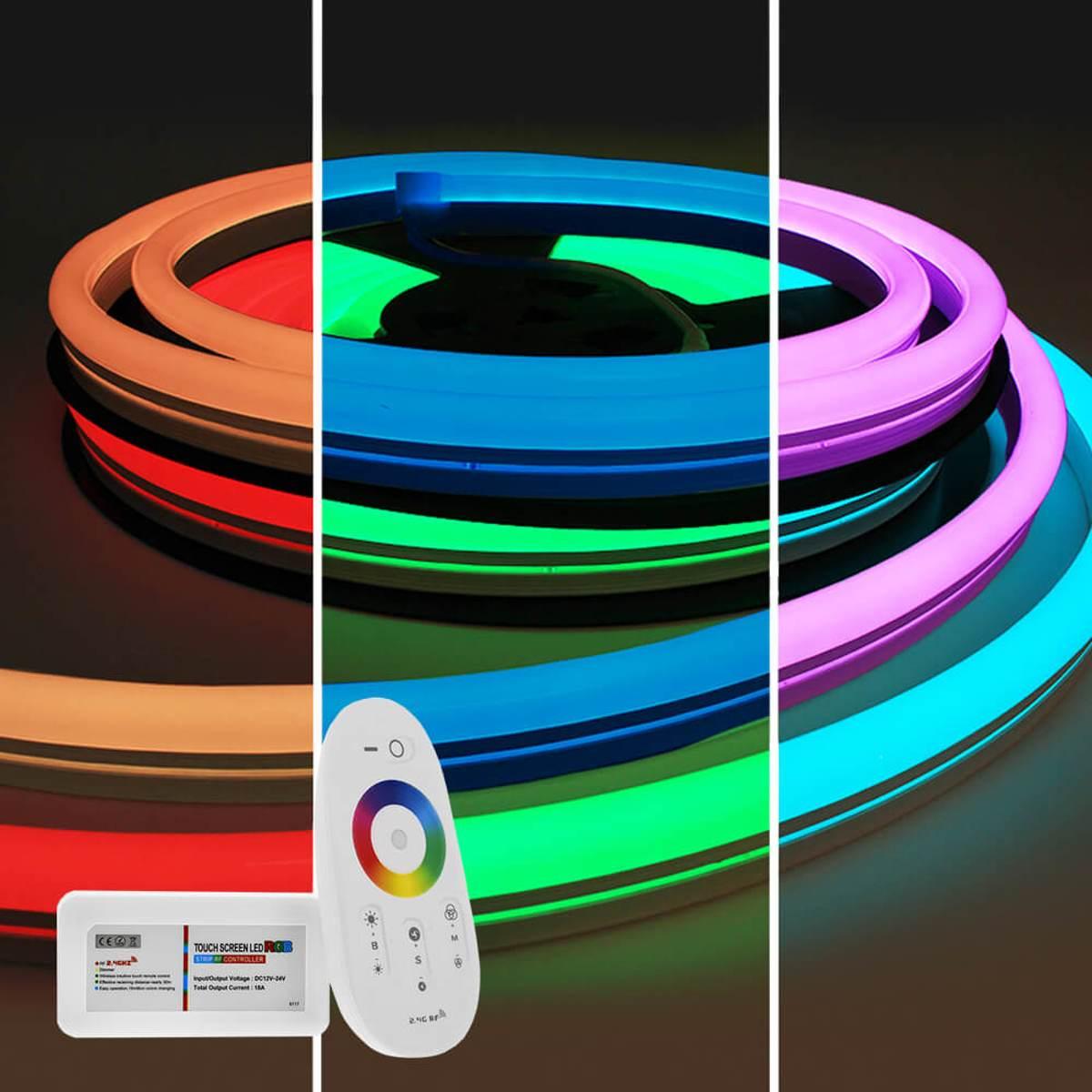 7,5 meter RGB Neon LED flex Maxi rond - complete set neon verlichting kopen