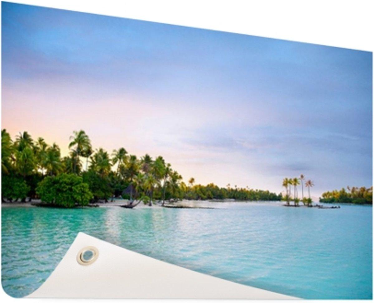 Palmbomen in de tropische oceaan Tuinposter 120x80 cm - Foto op Tuinposter (tuin decoratie) kopen