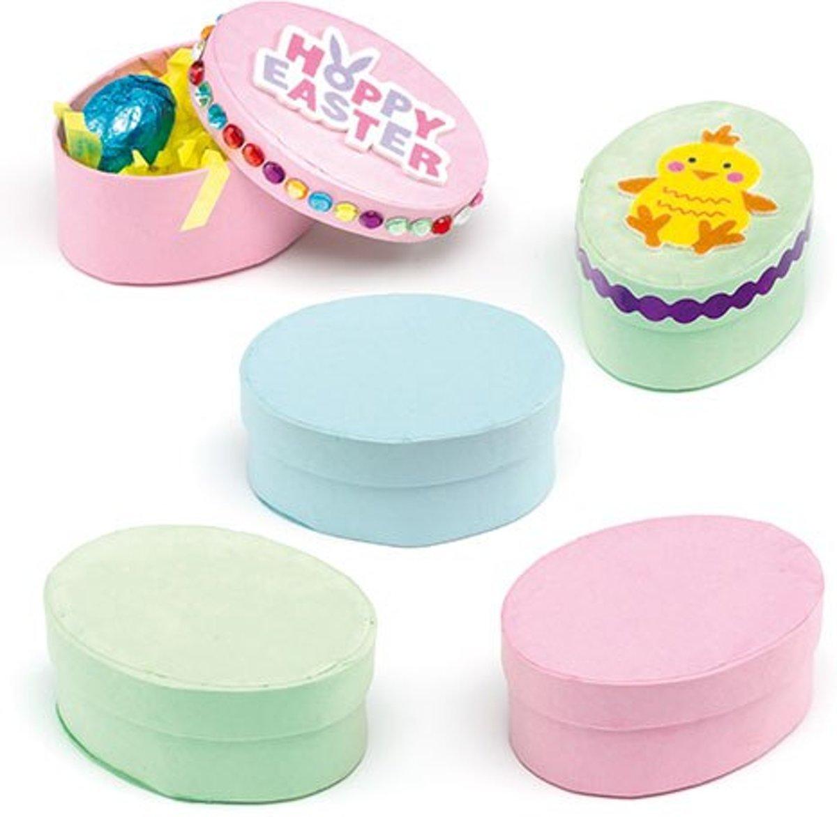 Ovale pastelkleurige knutseldoosjes  (6 stuks per verpakking) kopen