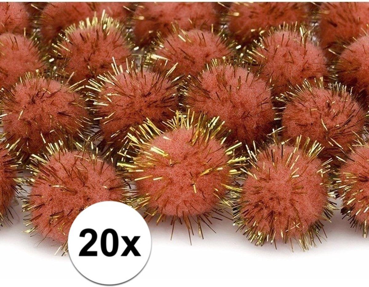 20x oranje knutsel pompons 20 mm kopen