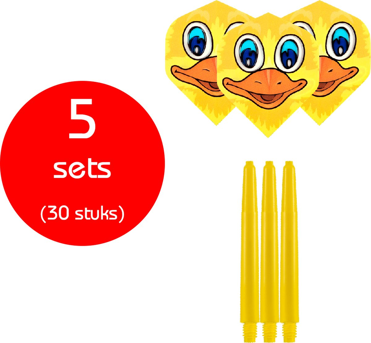 Dragon Darts - 5 sets (30 stuks) - medium - darts shafts - inclusief - ducky- darts flights - geel kopen