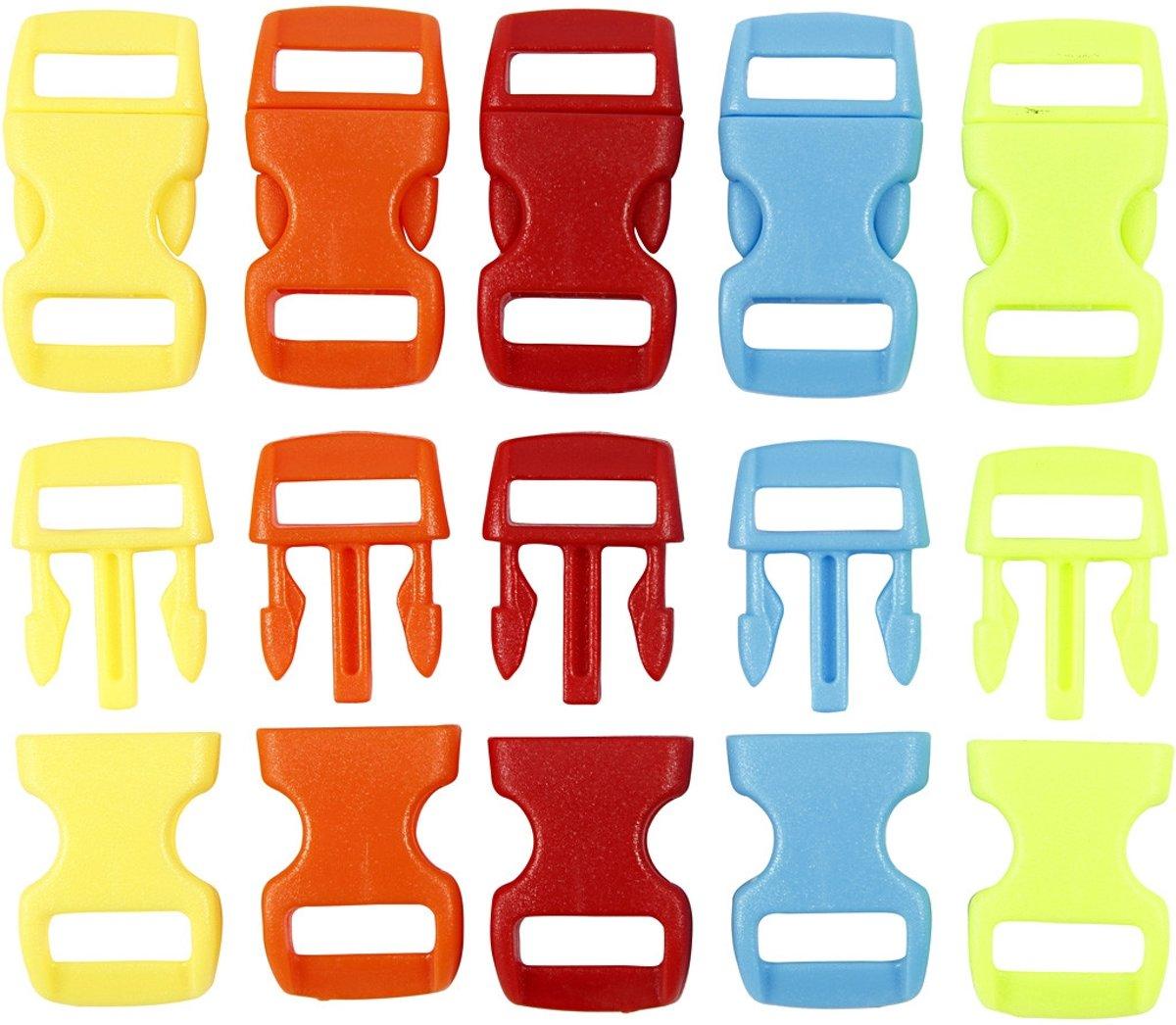 Klik sluiting, b: 15 mm, l: 29 mm, kleuren assorti, 100div, gatgrootte 3x11 mm [HOB-41621] kopen