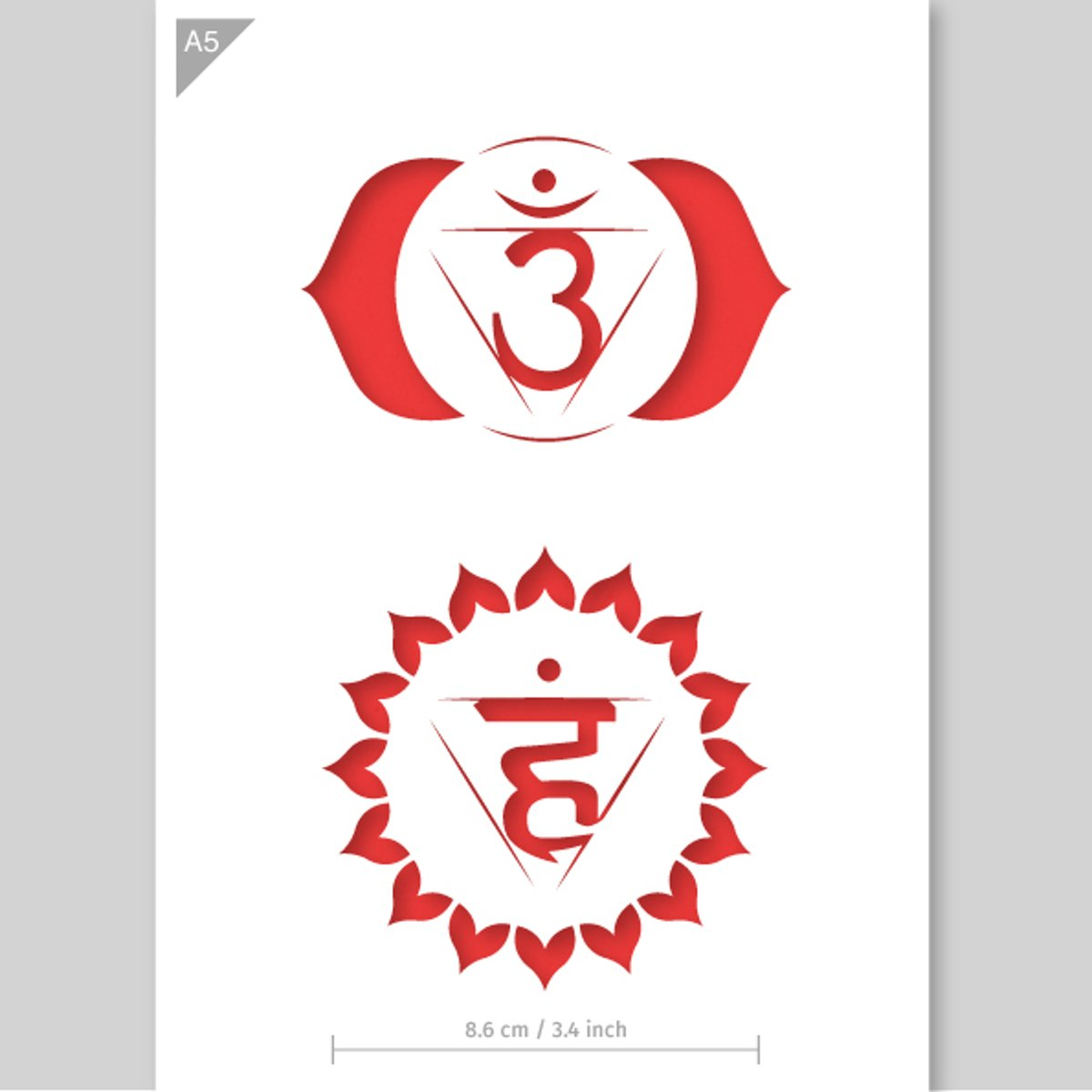 Vishuddha & Anja chakra sjabloon - Kartonnen A5 stencil - Kindvriendelijk sjabloon geschikt voor graffiti, airbrush, schilderen, muren, meubilair, taarten en andere doeleinden kopen