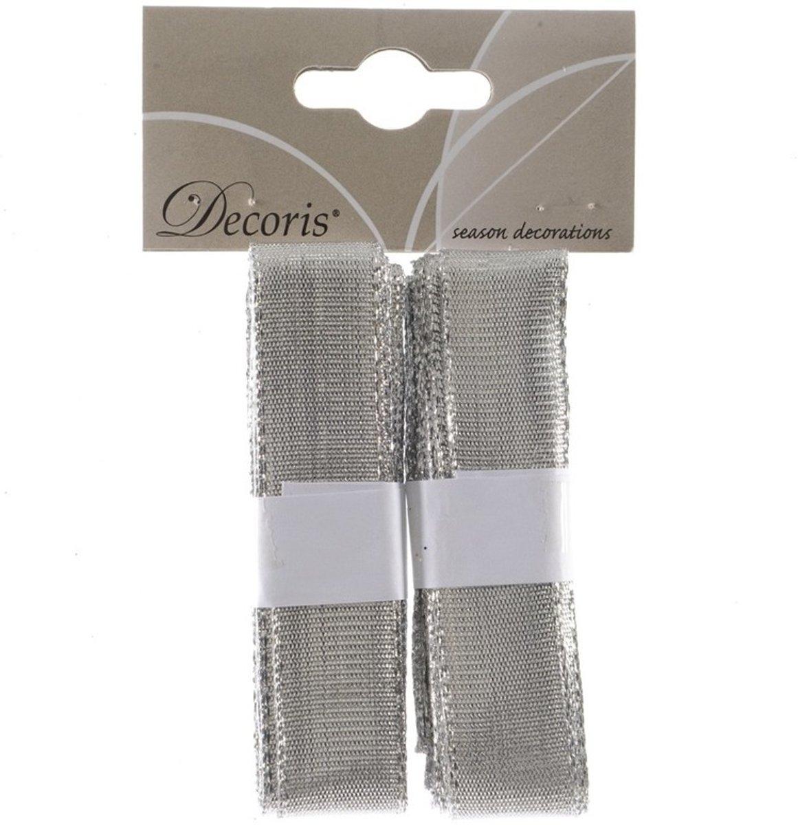 Kerst linten zilver 2x 200 cm kopen