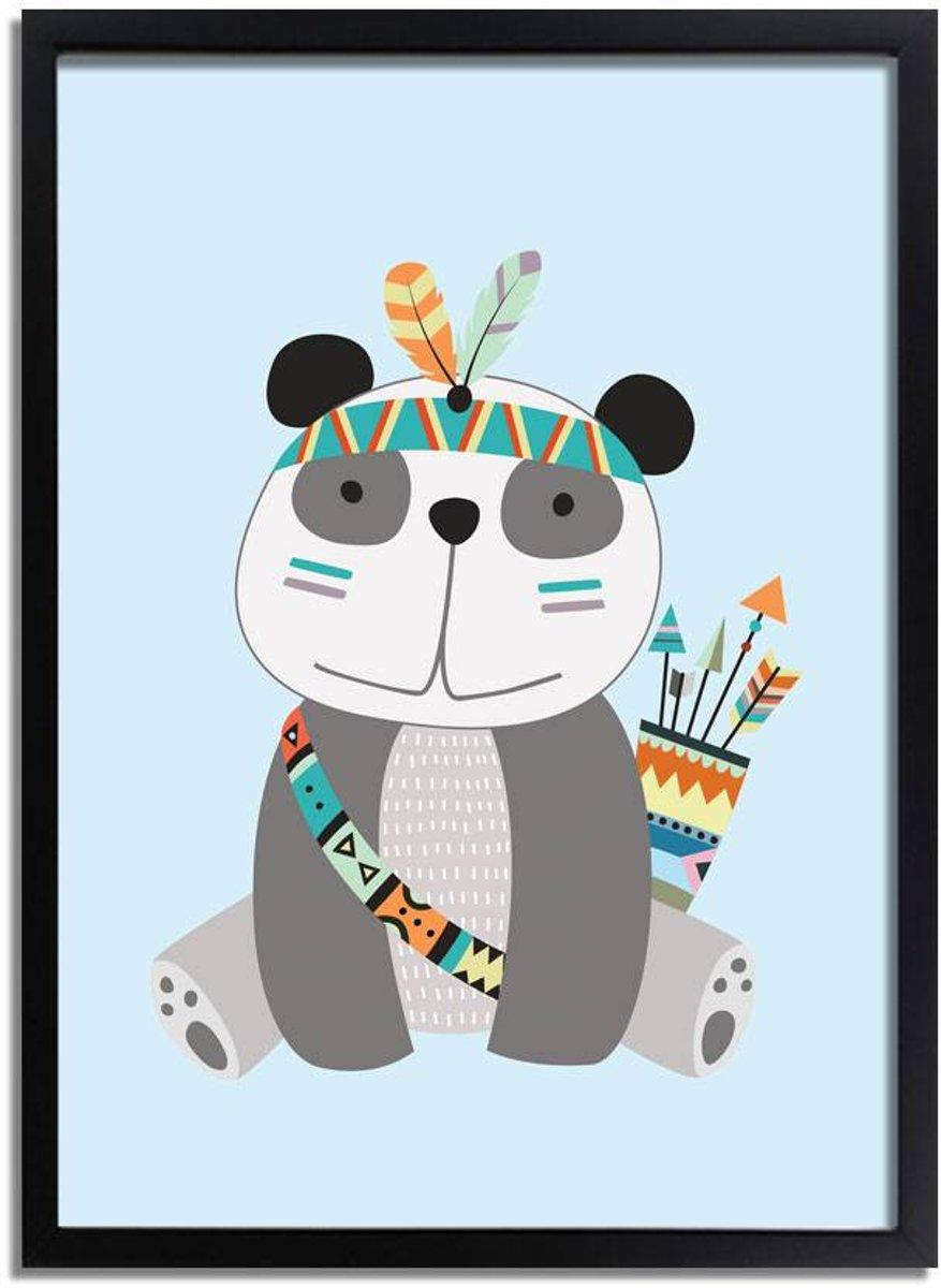 Kinderkamer poster Panda DesignClaud - Indianen Stijl Kleurrijk - A3 + fotolijst zwart kopen