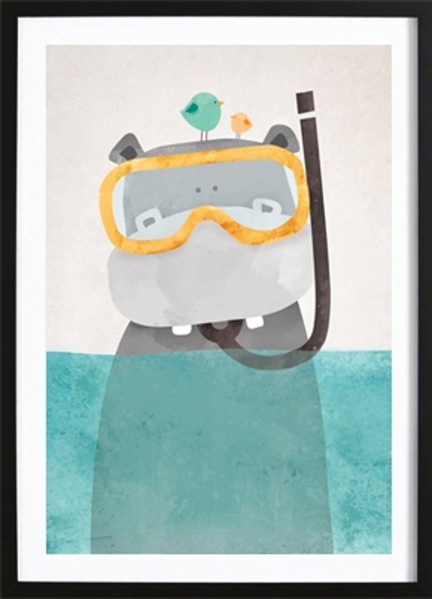 Snorkel Nijlpaardje Poster (21x29,7cm) - Kinderen - Poster - Print - Kinderkamer - Wallified kopen