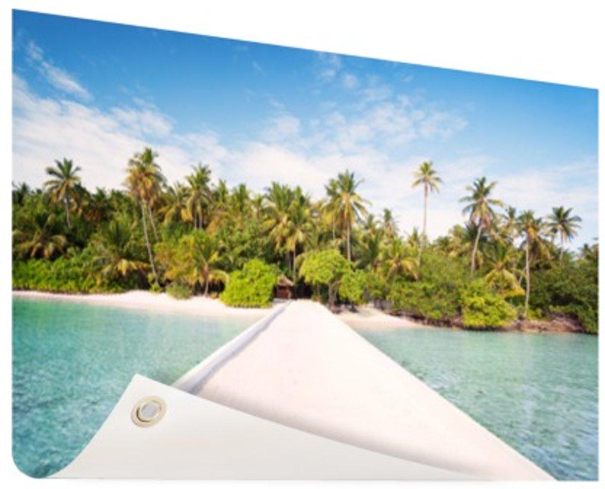 Pier naar tropisch eiland in de Maldiven Tuinposter 200x100 cm - Foto op Tuinposter (tuin decoratie) kopen