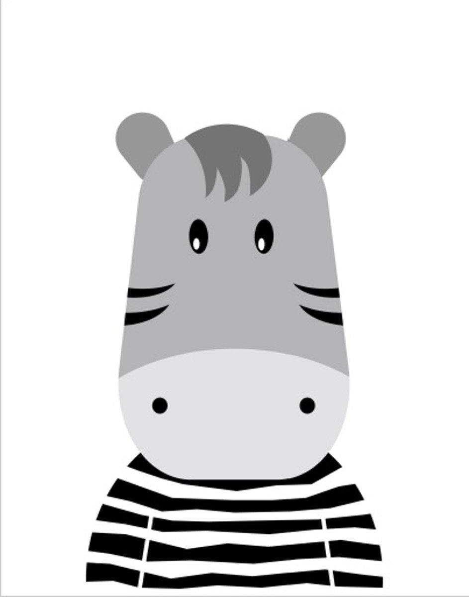 Kinderposter lief nijlpaardje A4 - poster babykamer - kinderkamer - nijlpaard kopen
