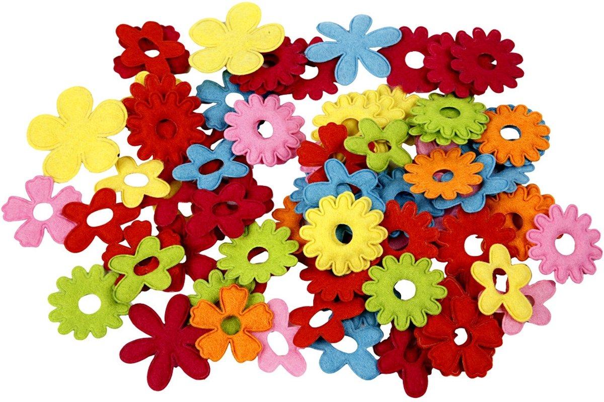 Bloemen van vilt, grootste maat 35x45 mm, dikte 1,2 mm, 135div [HOB-45071] kopen