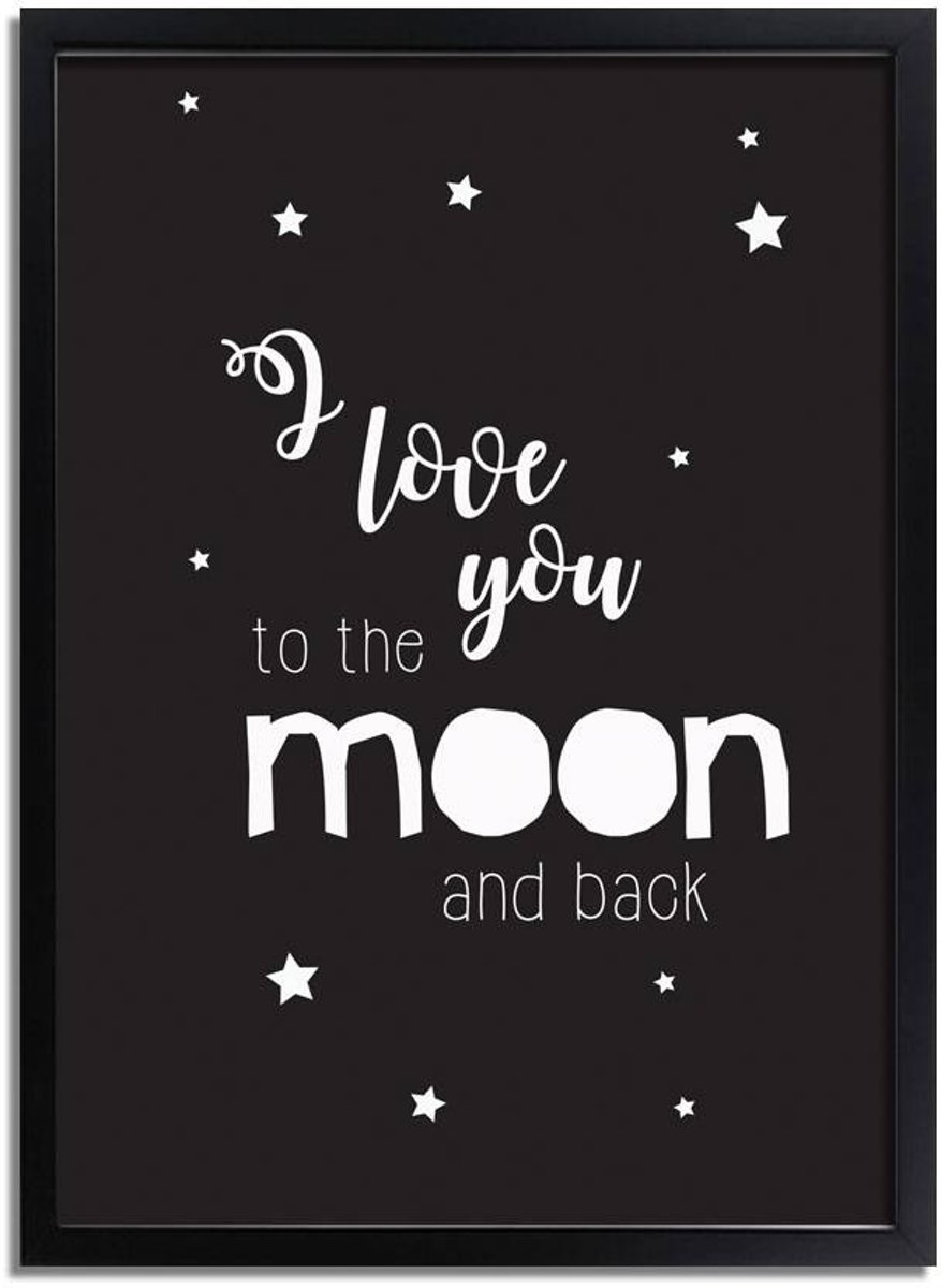 Kinderkamer poster I love you to the moon and back DesignClaud - Zwart wit - A2 + Fotolijst zwart kopen
