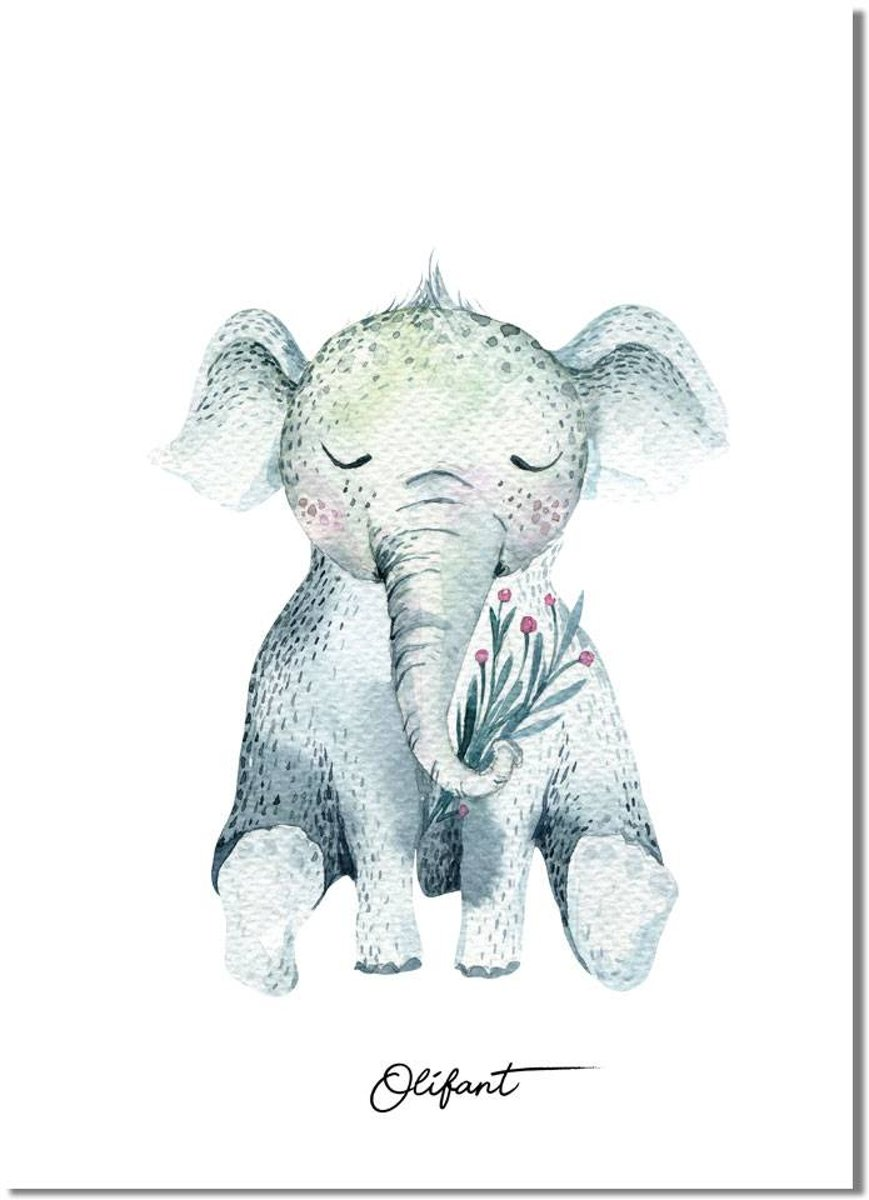 Kinderkamer poster Olifant DesignClaud - Waterverf stijl - A3 poster kopen
